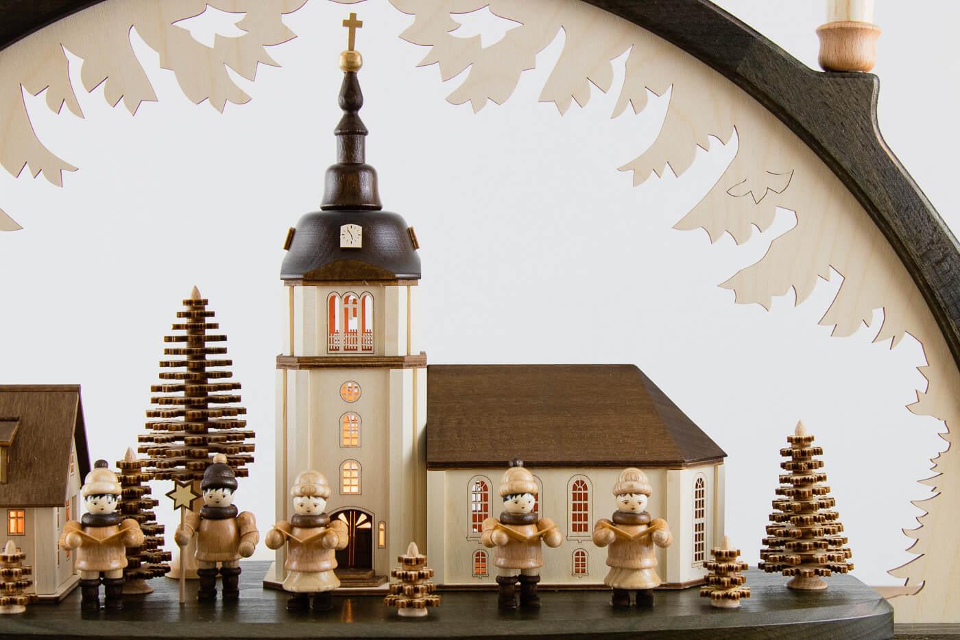 Holz-Schwibbogen Dorfkirche Lenk&Sohn 41115-D-N 10flg. 66x43cm