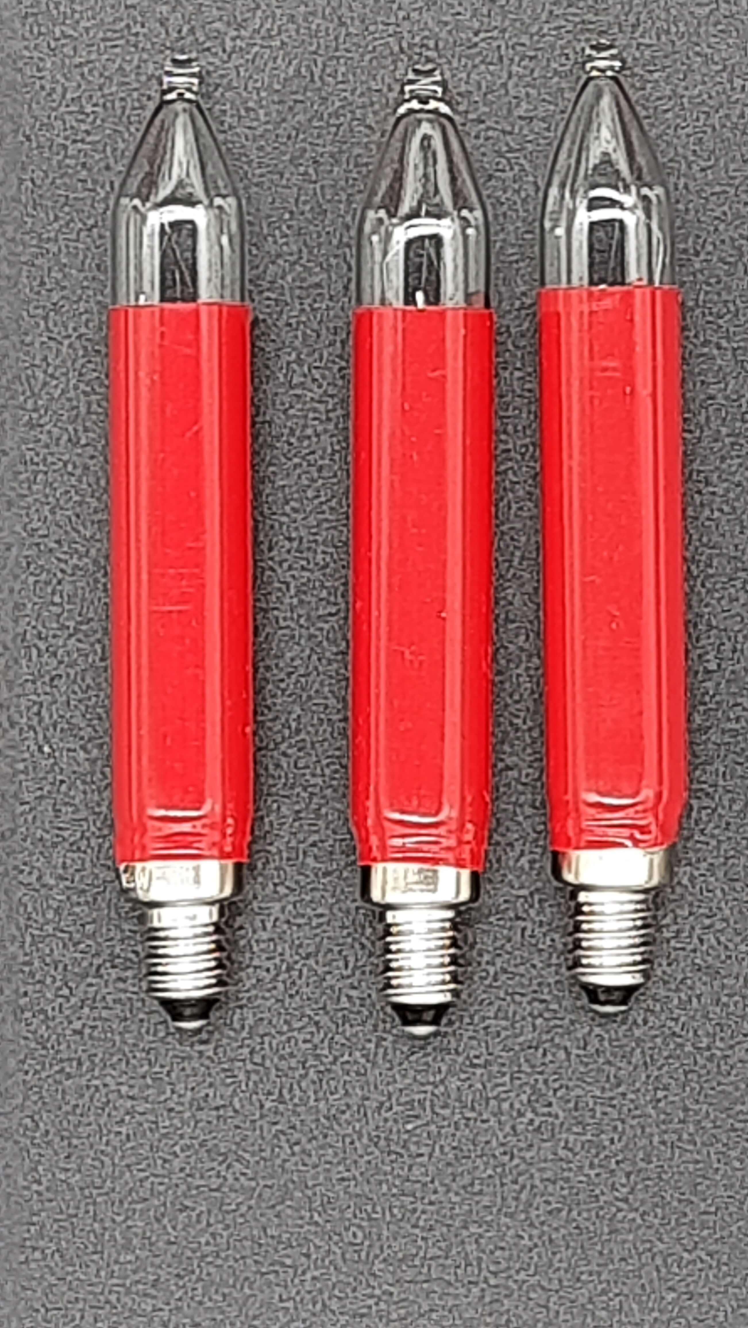 Schaftkerzen rot 3er Set E10 12V 3W