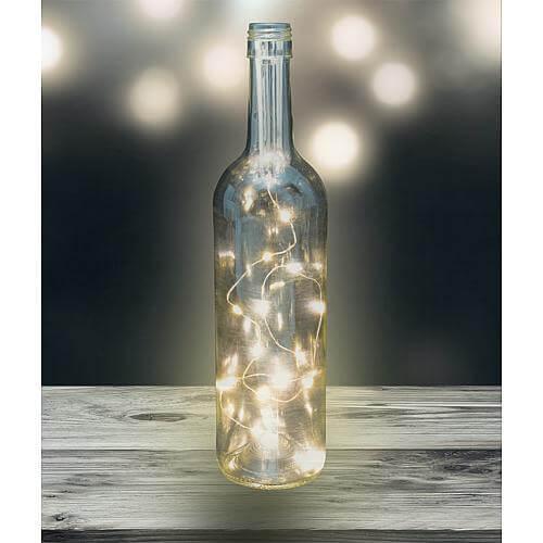 LED Korken Lichterkette 15 fl. warmweiß, mit Timer silberfarbener Draht
