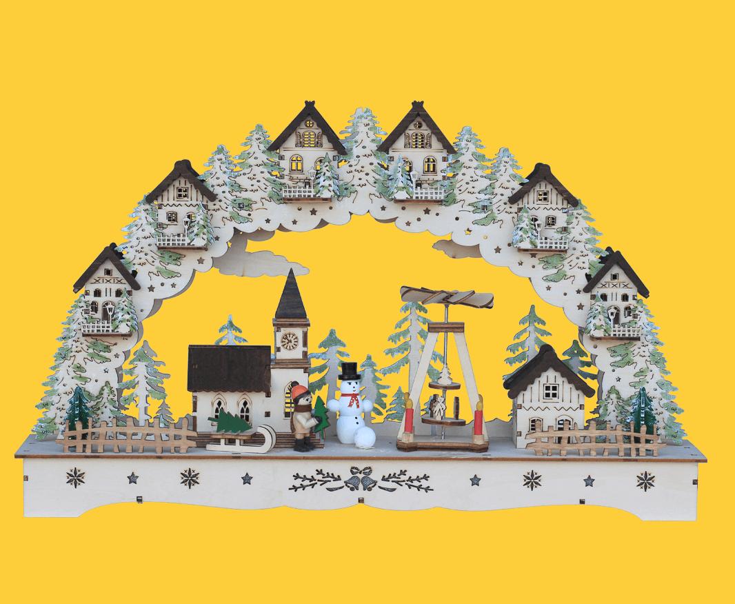 Schwibbogen Winterkirche & Winterkind mit Schlitten 44 * 8 * 27 cm