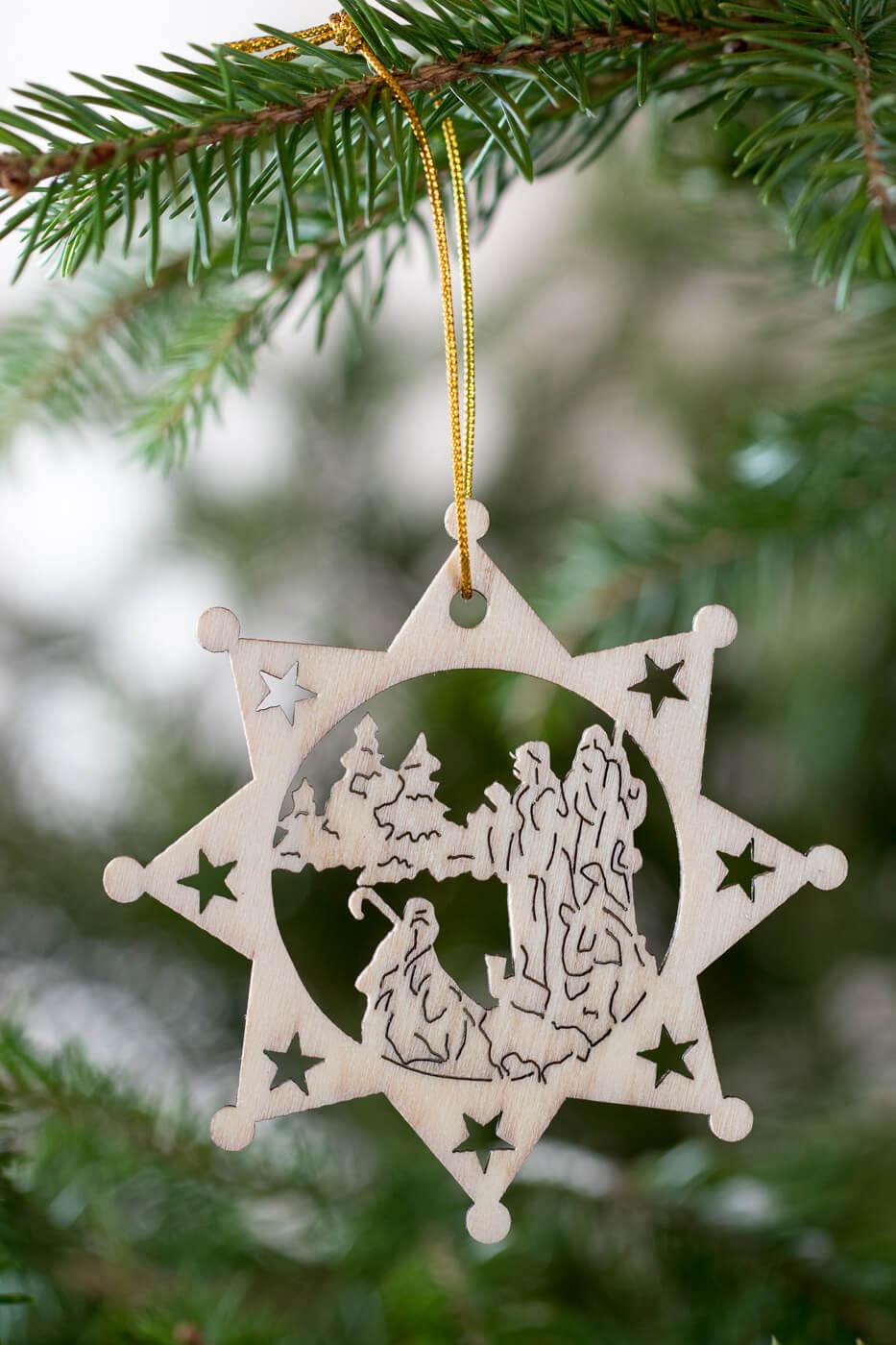 Holzanhänger Stern 8cm Motiv Christi Geburt 4er Set