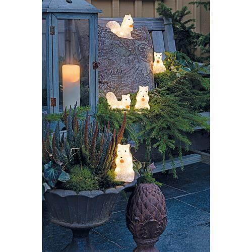 LED Acryl Eichhörnchen 5er-Set 40 warmweiss LED außen 6287-103
