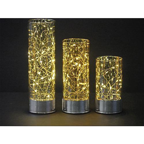 Glas Lampe 20cm mit LED Beleuchtung 6380
