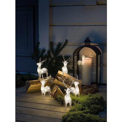 LED Acryl Rentiere 5er-Set 40 ww LED außen 6288-103