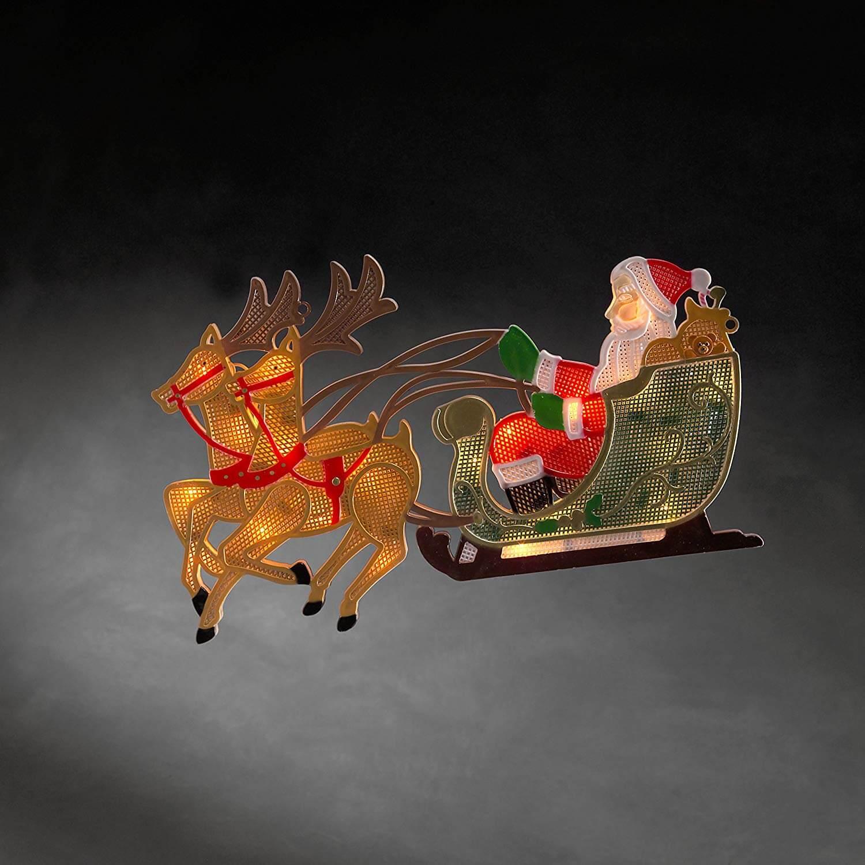 LED Fenstersilhouette Rentier mit Weihnachtsmann 2853-010