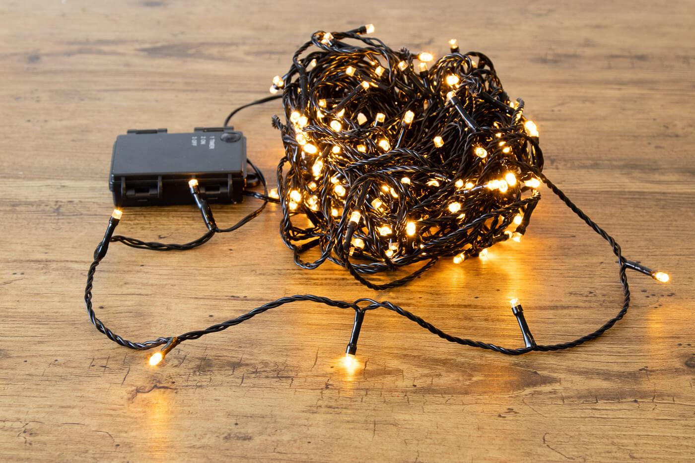 LED-Microlichterkette 180 LEDs bernstein für innen und außen mit Timer-Funktion
