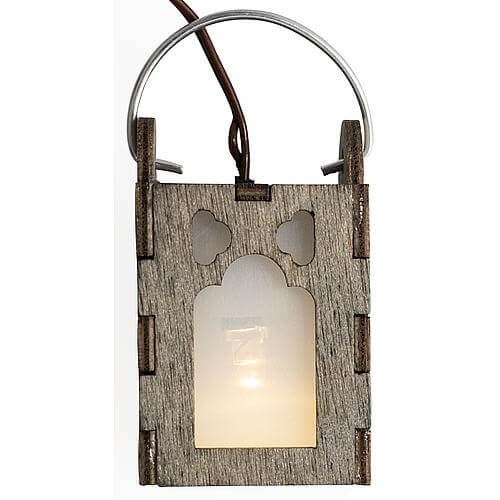 LED-Holzlaterne à2x3cm vintage grau