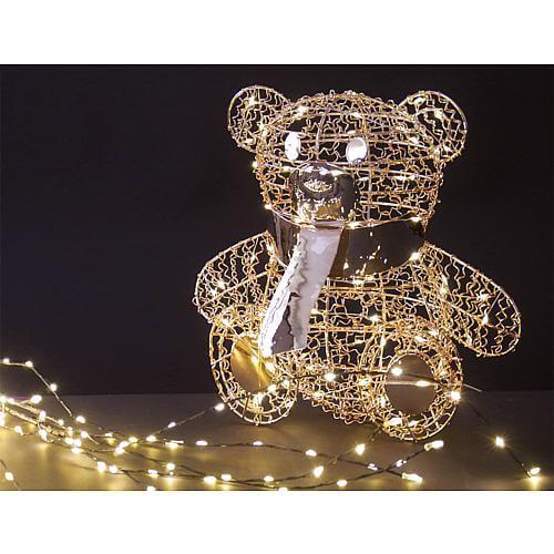 LED Teddybär sitzend rosegold 68803