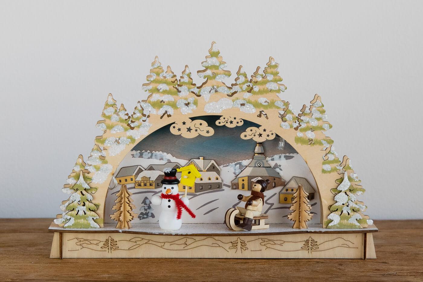 Schwibbogen Seiffen mit Schneemann 30*19*6 cm