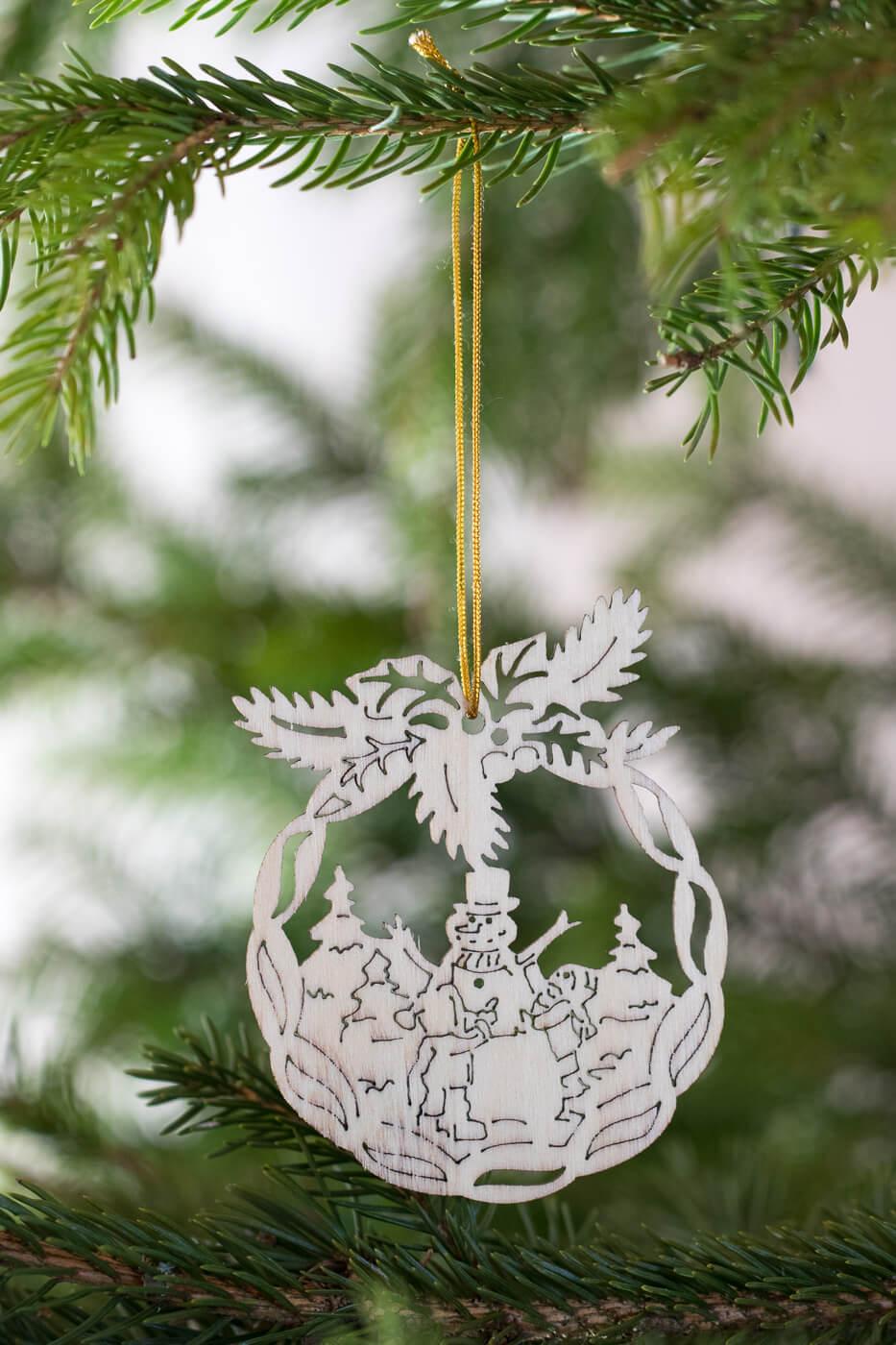 Weihnachtsbaumschmuck Schneemann Holz 8cm 4er Set