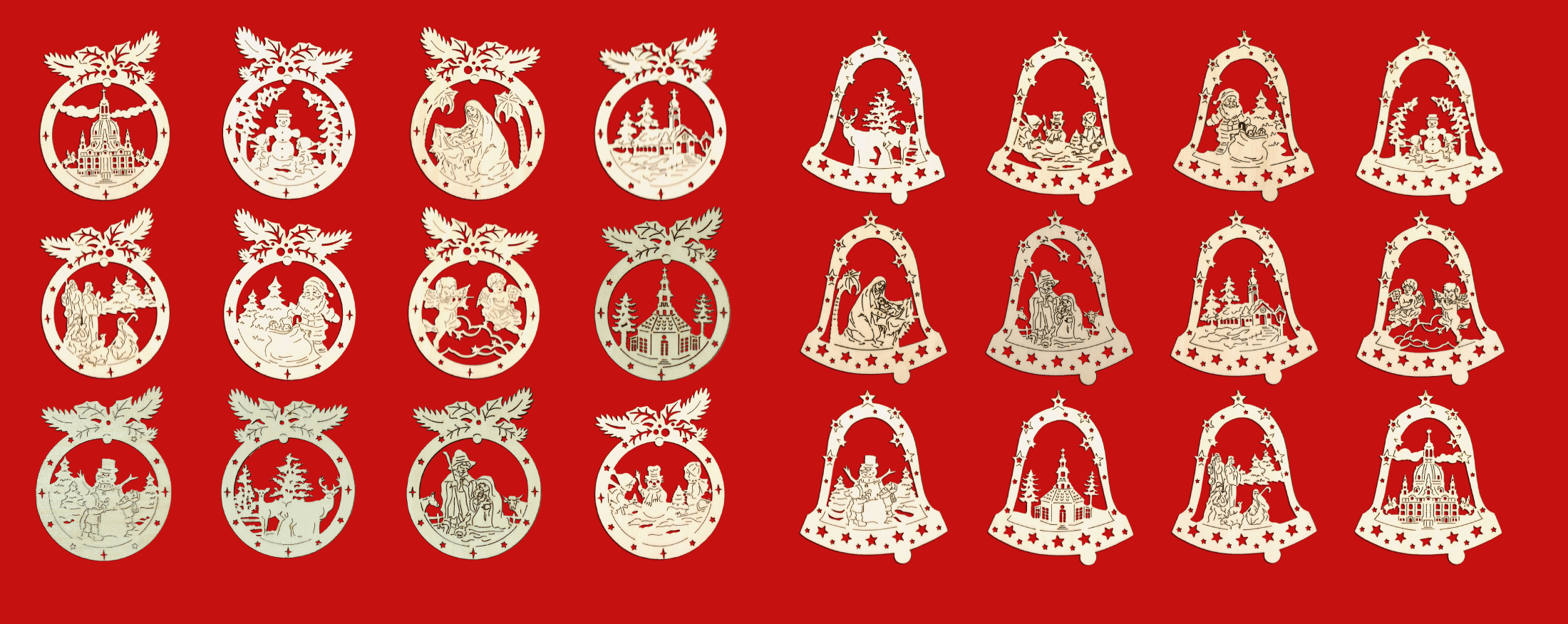 Weihnachtsbaumschmuck aus Holz - 24 verschiedene Motive
