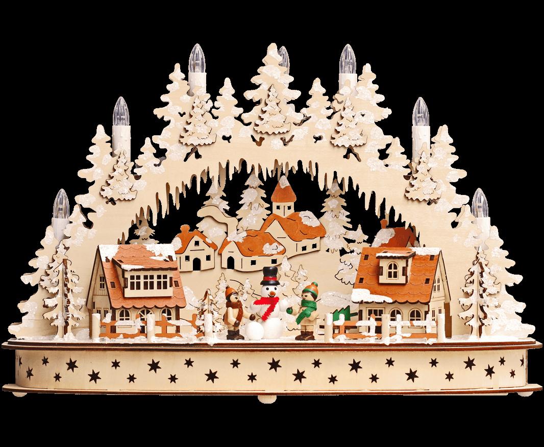 Weihnachts-Leuchter LED ca. 42*29*13 cm, Häuser Winterkinder, Schneemann - Trafobetrieb möglich