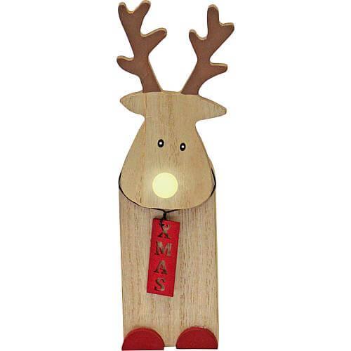LED Holz-Weihnachtsmann 17cm 524673