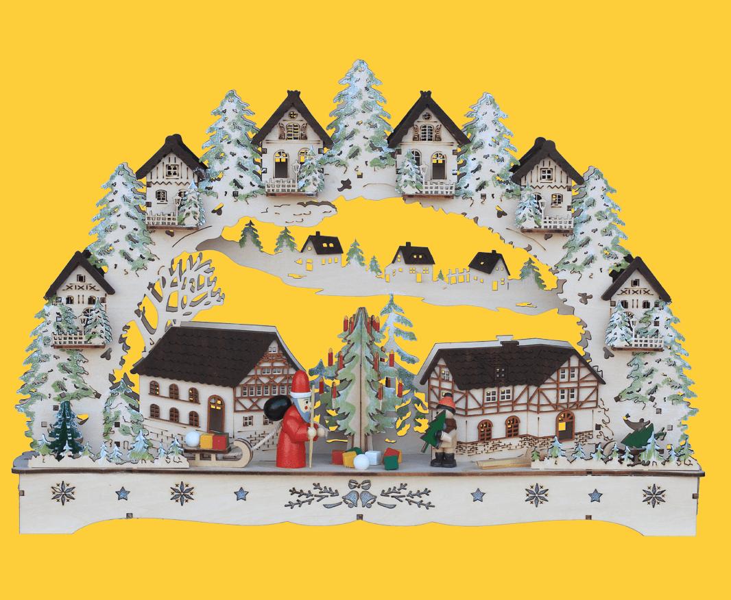 Schwibbogen Altstadt und Weihnachtsmann 44 * 8 * 27 cm