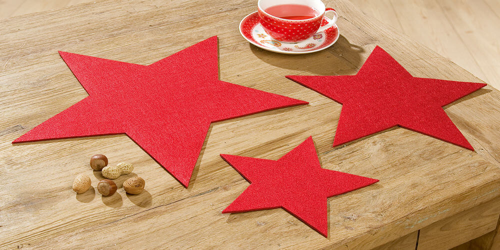 Stern aus Filz 35cm rot