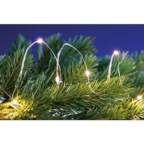 Micro LED-Lichterkette 40 fl. warmweiß, Timer silberfarbener Draht, batteriebetrieben 4xAA