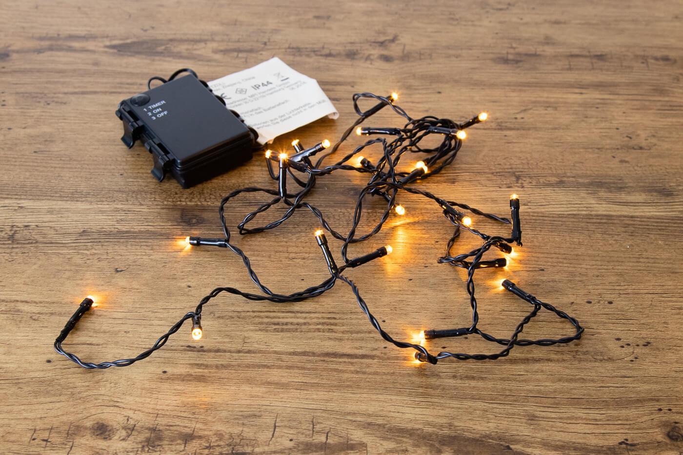 LED-Microlichterkette 24 LEDs bernstein für innen und außen mit Timer-Funktion