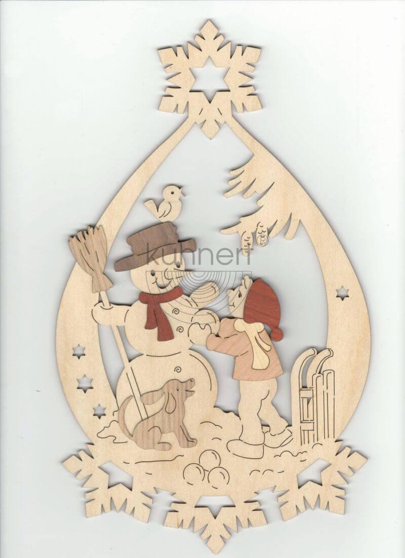 Fensterbild Kind mit Schneemann Kuhnert 19141