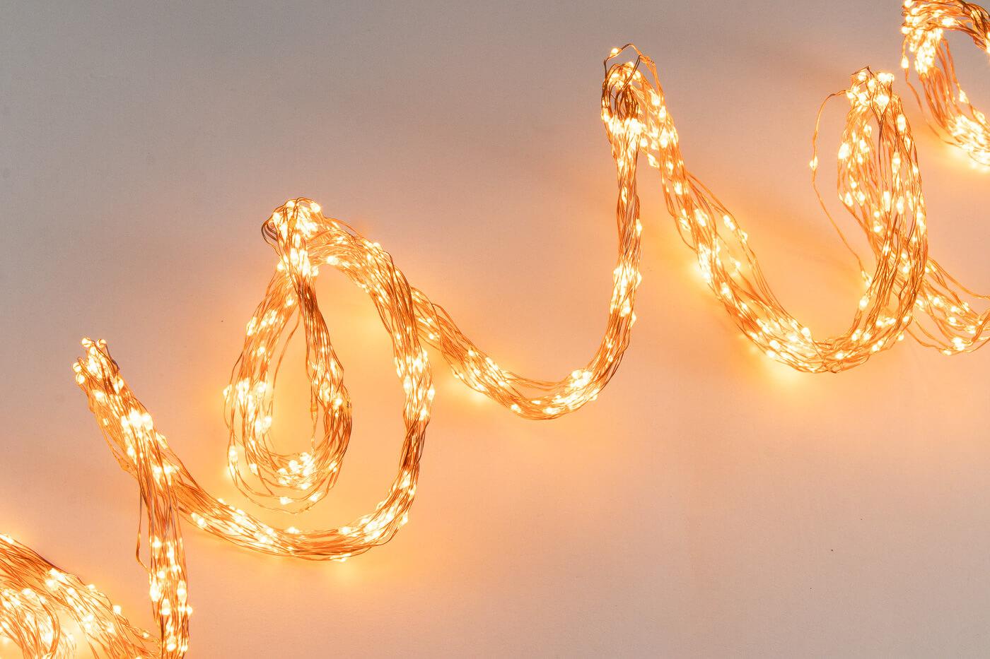 Micro LED-Lichtbündel mit Funkeleffekt 900 flg. bernsteinfarben Lotti 48768