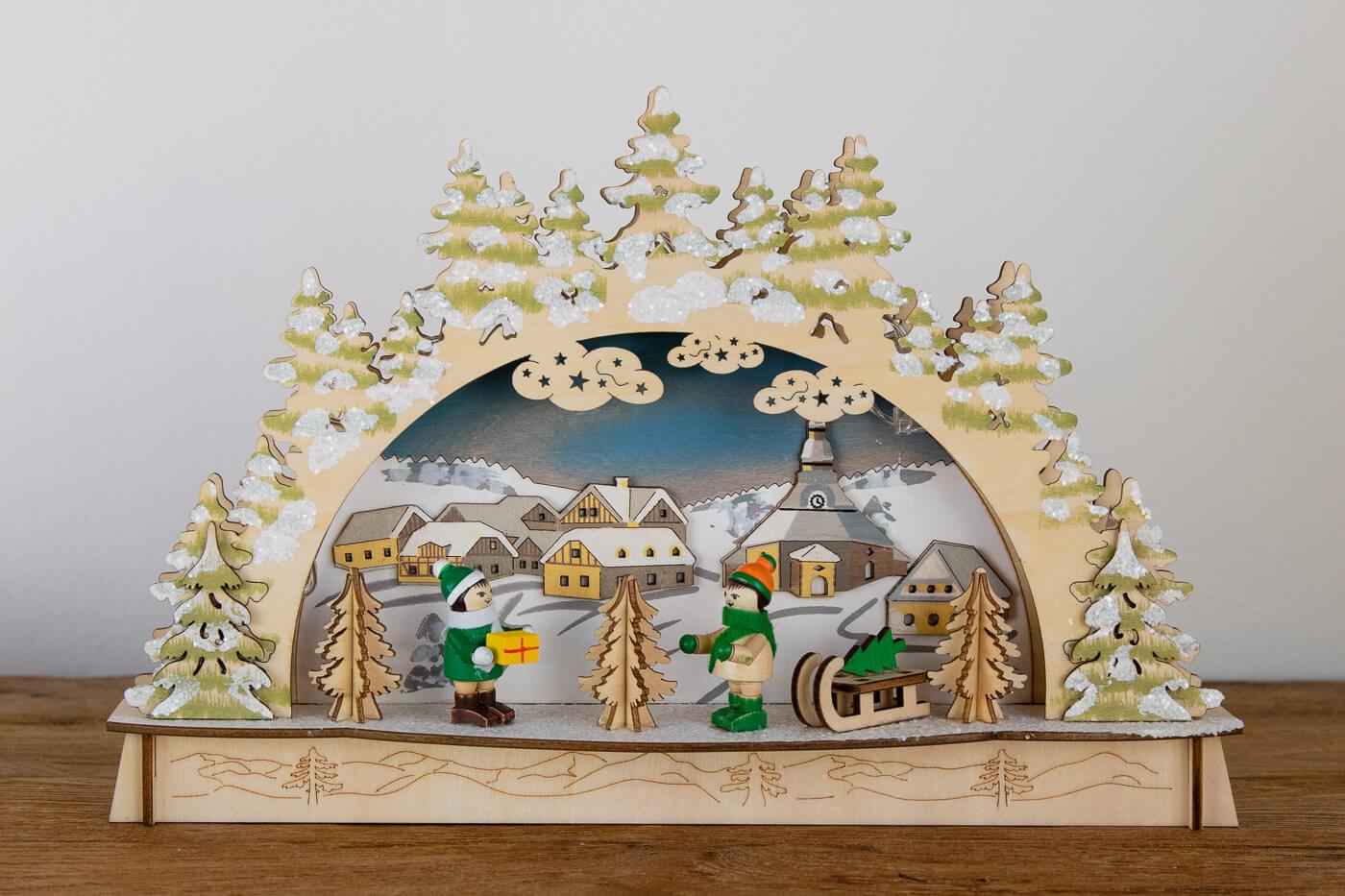 Schwibbogen Seiffen Winterkinder mit Schlitten 30*19*6 cm