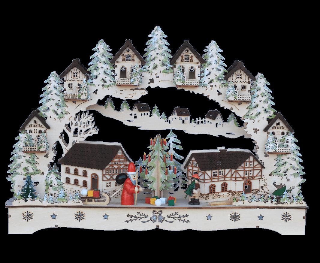 Lichterbogen Altstadt mit Fachwerkhäusern, Weihnachtsmann, Weihnachtsbaum und Kind