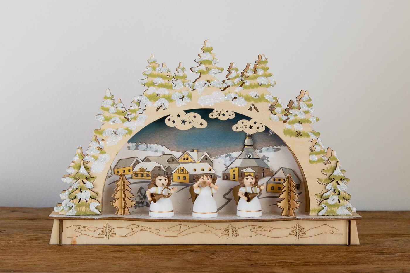 Schwibbogen Seiffen mit 3 Engel 30*19*6 cm