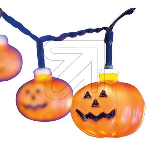 LED-Dekolichterkette Halloween-Kürbis 10 Kürbisse Ø 4,5cm 35690
