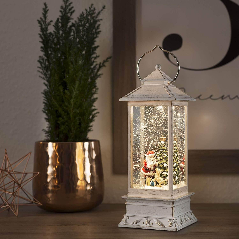 """LED-Schneelaterne """"Weihnachtsmann mit Hund"""" 4364-200"""