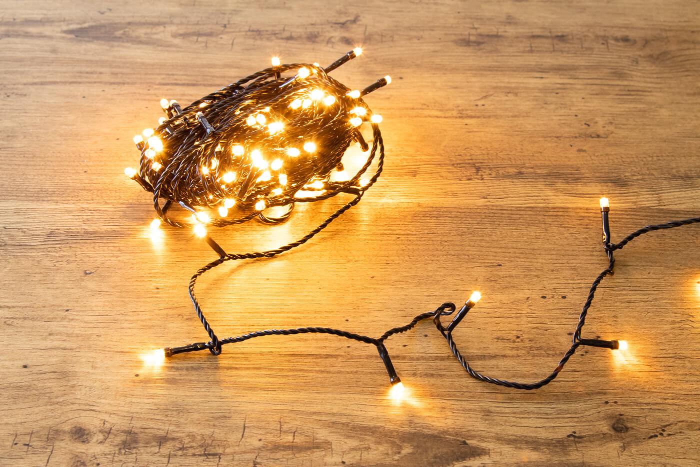 LED-Microlichterkette 120 LEDs bernstein IP44 mit Funkel Effekt
