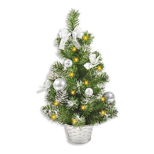 Tischbaum Schmuck und Korb silber 10 LEDs 50cm grün