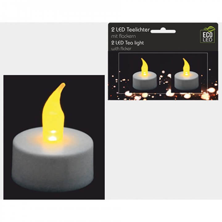 Teelichter LED 2er Set, flackerndes Licht