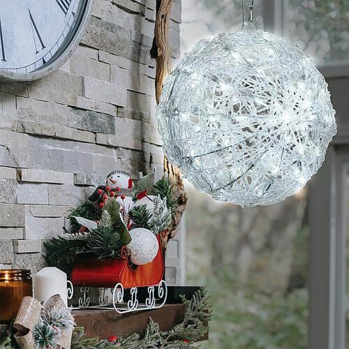LED-3D-Acryl-Kugel 26cm kaltweiß 68063