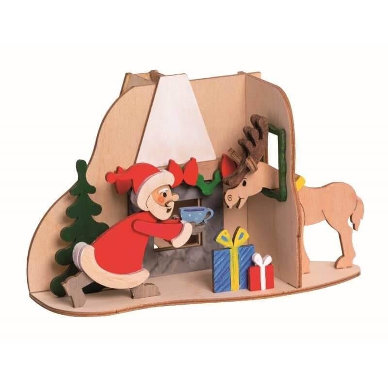 Bastelset Weihnachtsmann mit Elch Räucherhaus 10190