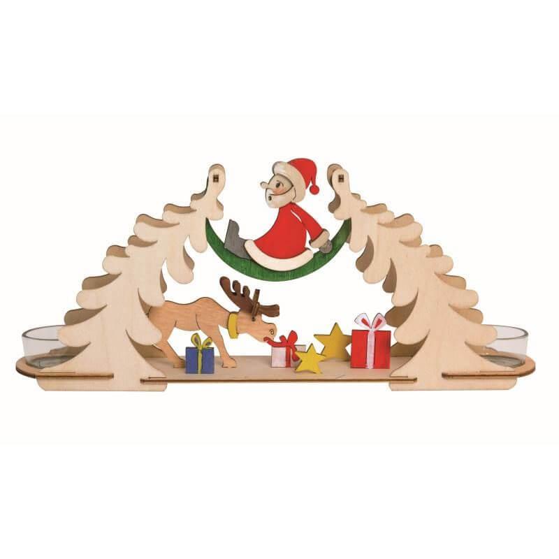 Bastelset Teelichtbogen Weihnachtsmann mit Elch Kuhnert 10192