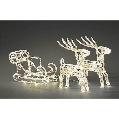 LED Acryl Schlitten mit 2 Rentieren 96 kw LED außen 6192-103