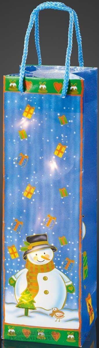 Hellum 571004 Geschenktasche mit Schneemann und LED Lichterkette