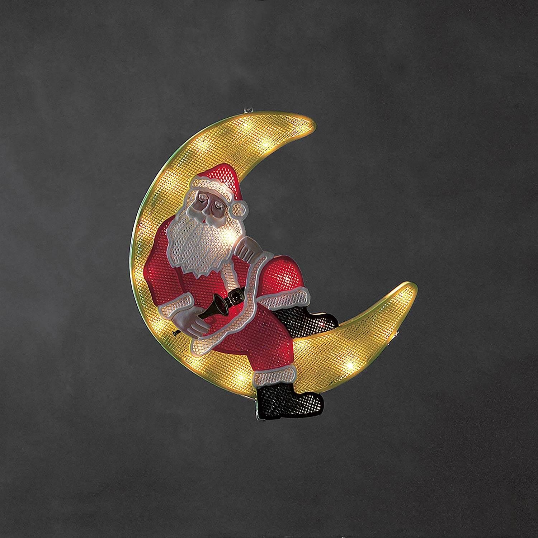 LED - Fenstersilhouette Weihnachtsmann im Mond 2860-010