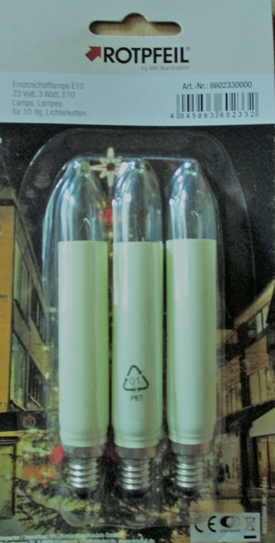 Schaftkerzen elfenbein 3er Set E10 23 V, 3W Rotpfeil 8602330000