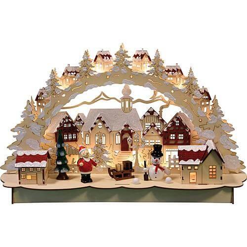 LED Holz-Schwibbogen Motiv Weihnachtsstadt 13 flg. 46x27cm natur