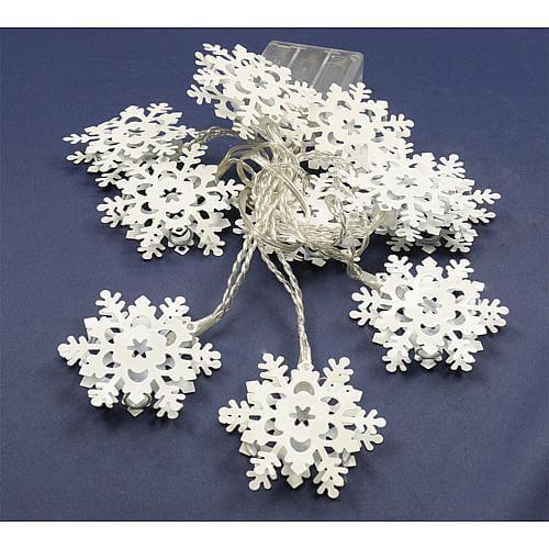 LED-Schneeflockenlichterkette 10 LEDs mit Metall-Schneeflocken warmweiß