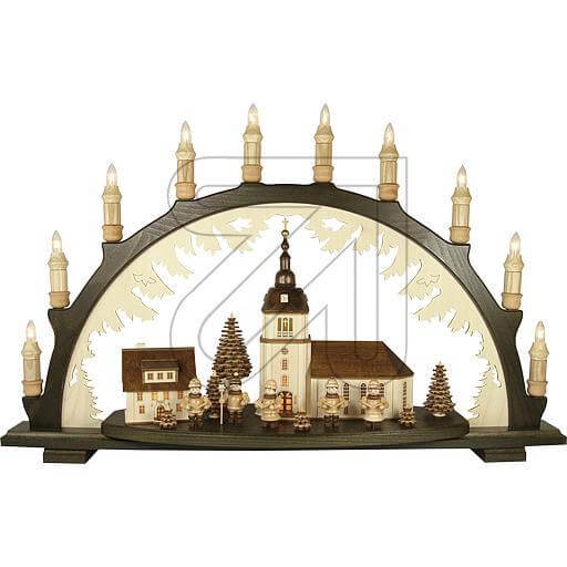 Holz-Schwibbogen 10 flg. 66x43cm Dorfkirche 41115-D-N