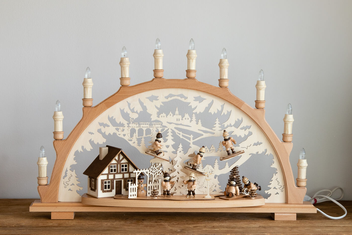 Schwibbogen Winterkinder Lenk&Sohn 41132 10flg. 66x43cm