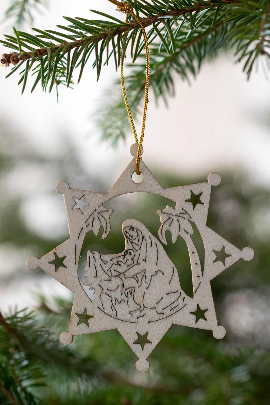 Holzanhänger Stern 8cm Motiv Maria mit Jesus 4er Set