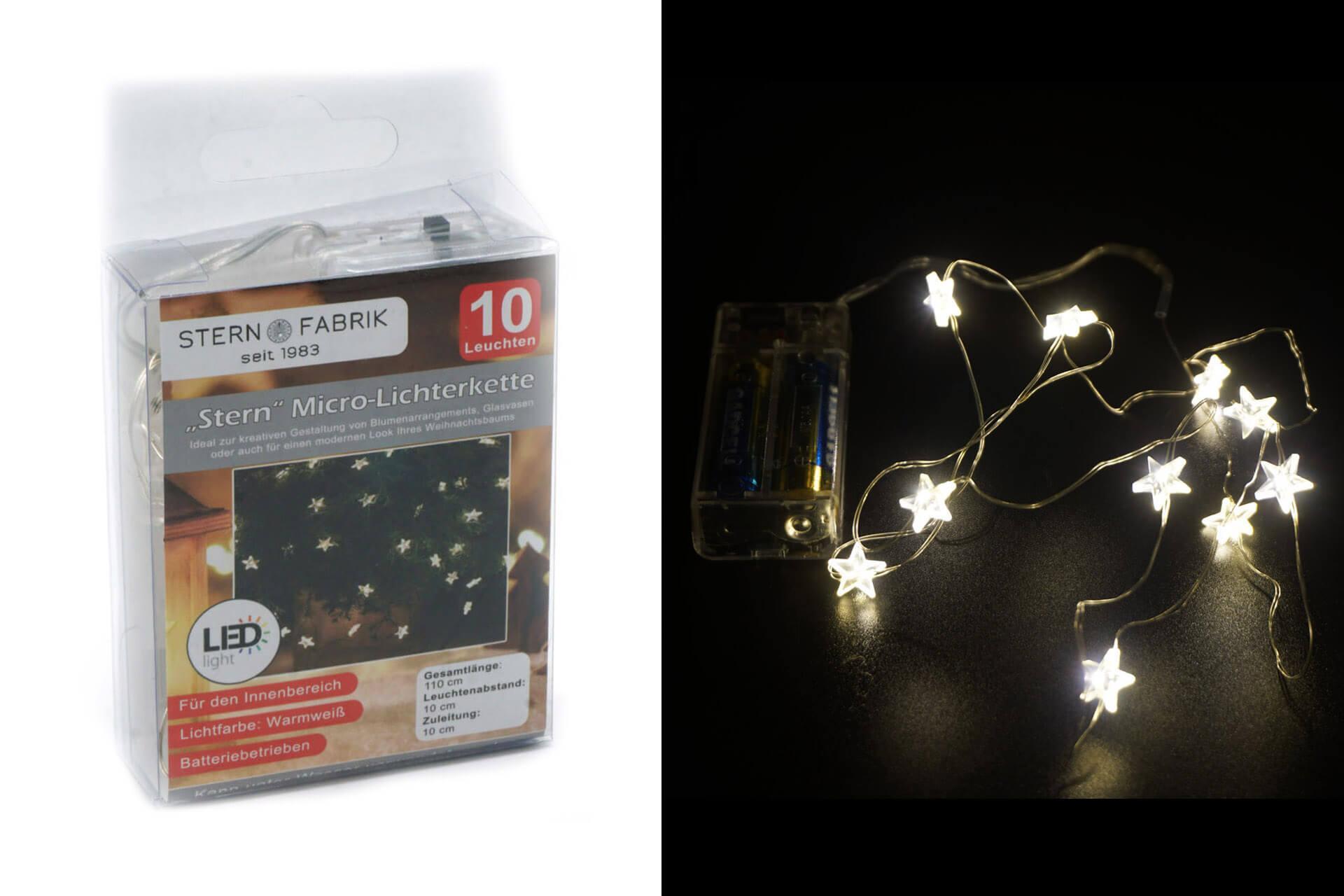 LED Lichterkette Sternen Mikro, 10 Mikro-LED 105cm warmweiß