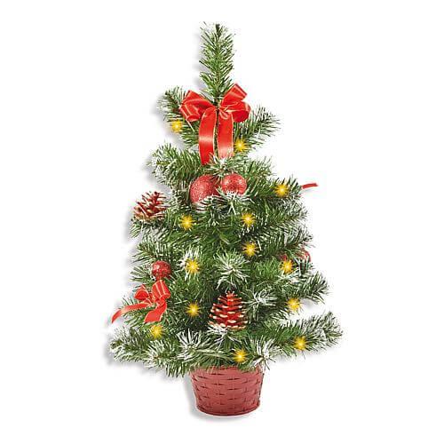 Tischbaum Schmuck und Korb rot 10 LEDs 50cm