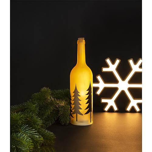 Deko Flasche mit LED Lichterkette und Wald Design