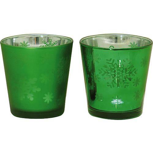 Glas-Windlicht-Set Ø 7,5cm grün
