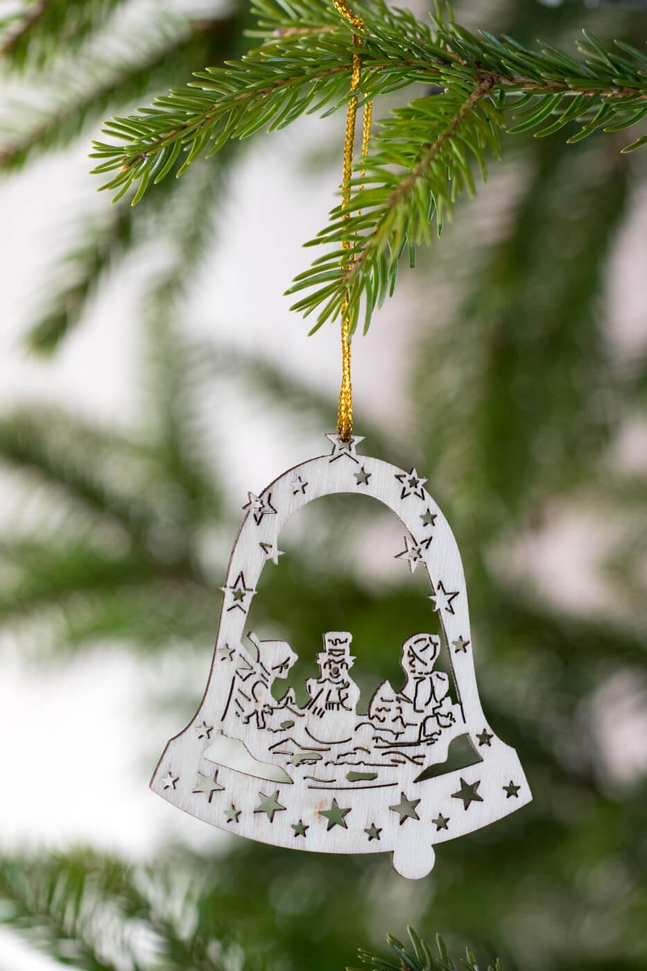 Baumschmuck Schneemann mit Kinder in Glocke 8cm aus Holz 4er Set