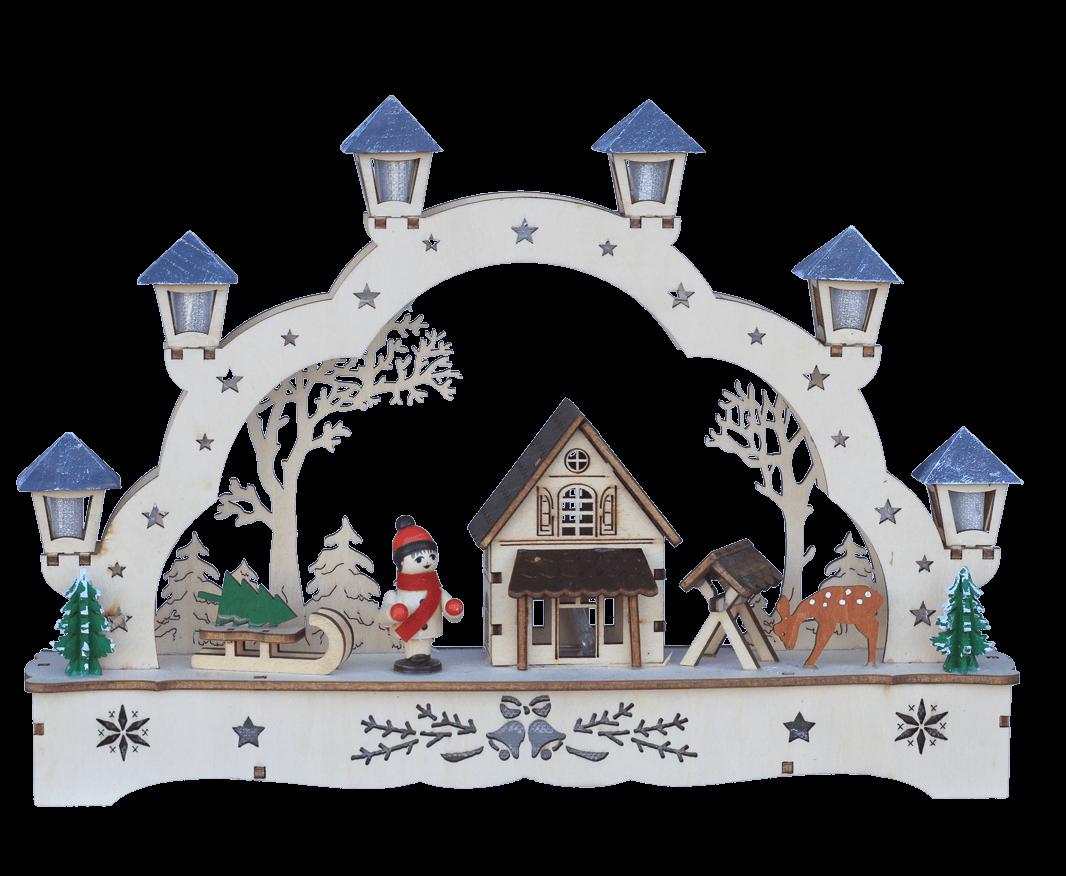 Weihnachtsleuchter Schwibbogen Forsthaus 28x5x20 cm LED