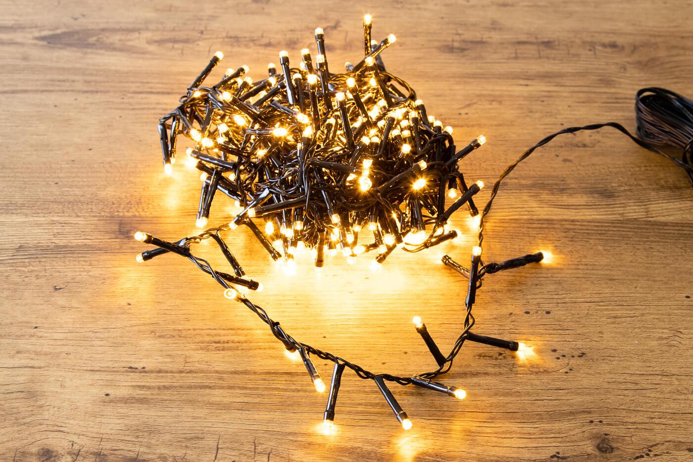LED-Microlichterkette 288 LEDs bernstein für aussen